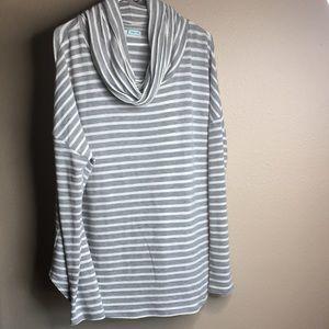 Cowl neck striped shirt